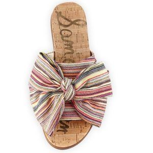 SAM EDELMAN Henna Striped Fabric Flat Cork Sandal
